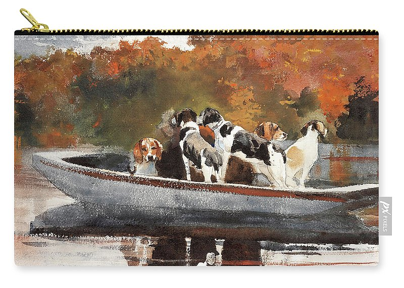 Winslow Homer Carry-all Pouch featuring the painting Hunting Dogs In Boat - Digital Remastered Edition by Winslow Homer