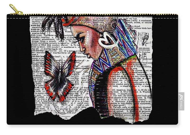 Words Carry-all Pouch featuring the drawing I am a Woman by Artist RiA