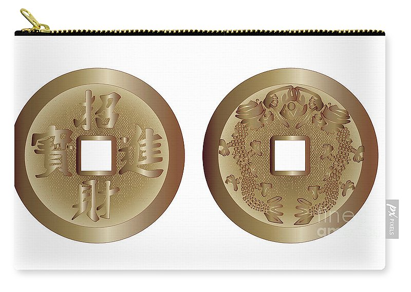 I Ching Carry-all Pouch featuring the digital art I Ching Coins by Bigalbaloo Stock