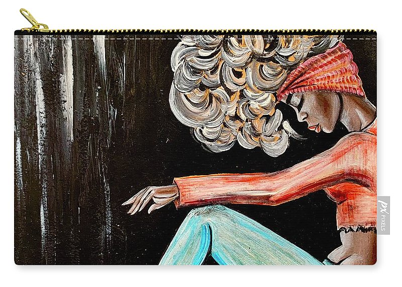 Black Art Carry-all Pouch featuring the painting I Just need to clear my head by Artist RiA