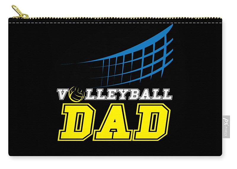 Ball Carry-all Pouch featuring the digital art I Love Volleyball Team Player Ball by TeeQueen2603