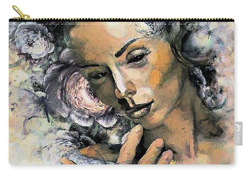 Romance Carry-all Pouch featuring the mixed media I Saw You And I Just Knew by G Berry