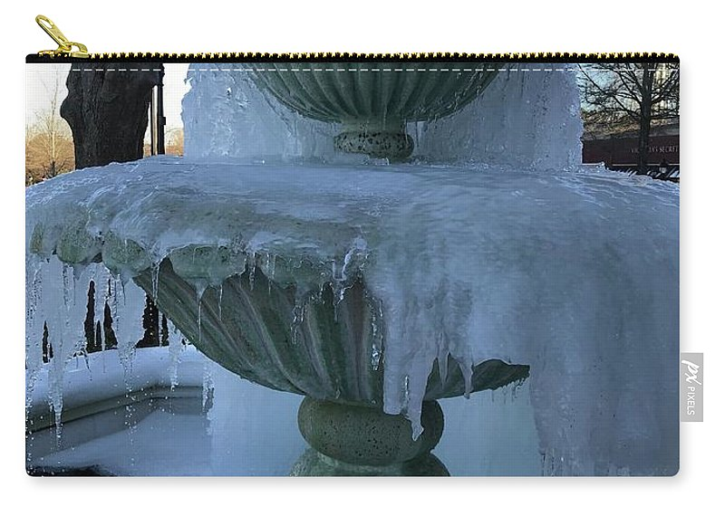 Ice Carry-all Pouch featuring the photograph Ice Fountain by Amy Metzger