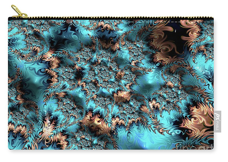 Fractals Carry-all Pouch featuring the digital art Icy Peaks by Elisabeth Lucas