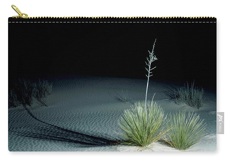 Background Carry-all Pouch featuring the photograph Illuminated Yucca At Night In White Sands National Monument, New Mexico - Newm500 00110 by Kevin Russell