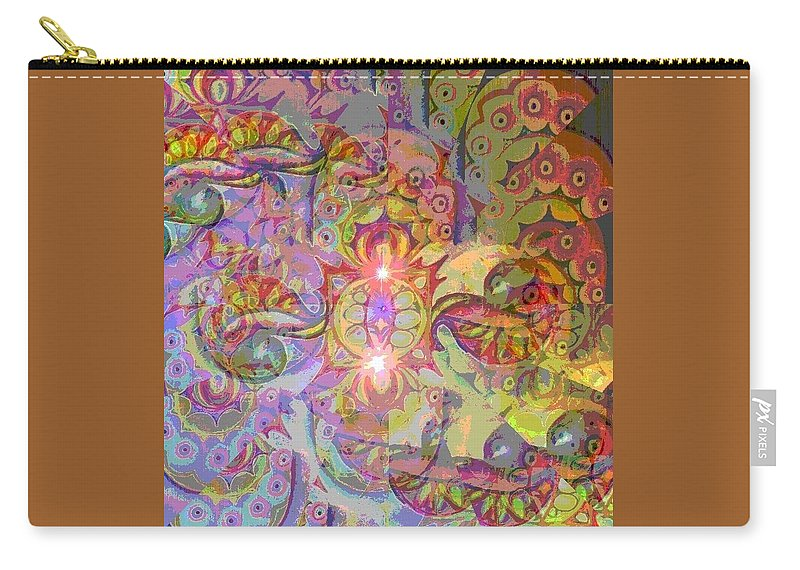 Fractals Cells Nature Colours Carry-all Pouch featuring the digital art Illusion Wave #2 by Zofia Kusch