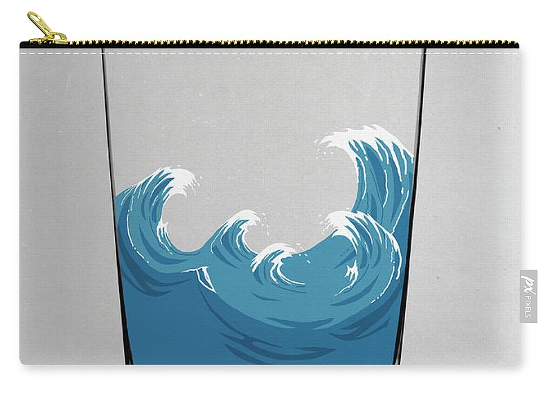 Concepts & Topics Carry-all Pouch featuring the digital art Illustration Of Choppy Waves In A Water by Malte Mueller