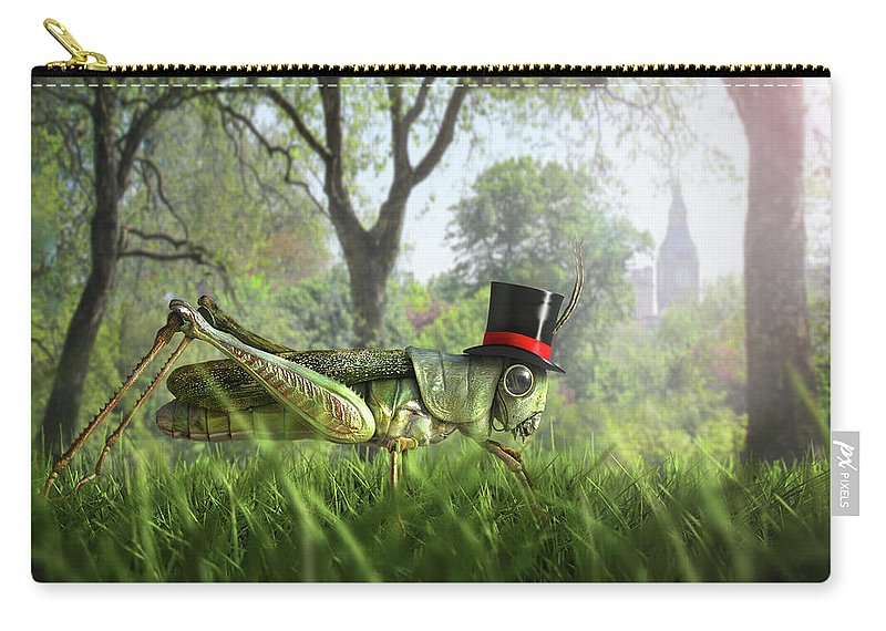 Grass Carry-all Pouch featuring the digital art Illustration Of Cricket Wearing Monocle by Chris Clor