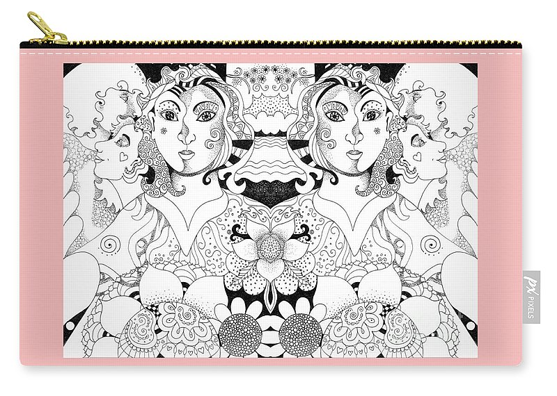 Imagine 3 By Helena Tiainen Carry-all Pouch featuring the drawing Imagine 3 by Helena Tiainen