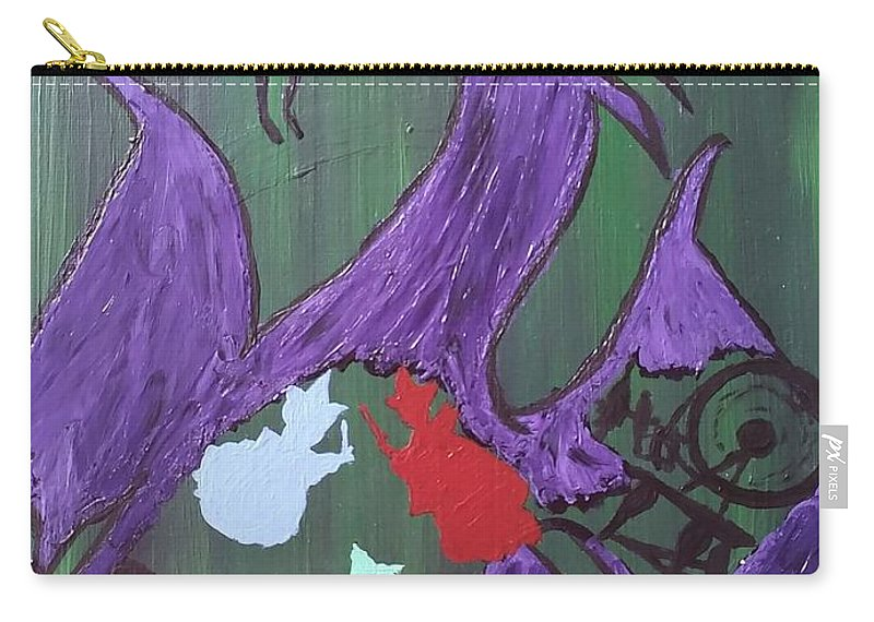 Carry-all Pouch featuring the painting In The Belly Of The Dragon by Jessica Moore