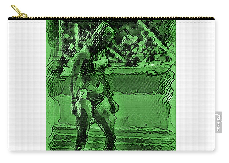 Athlete Carry-all Pouch featuring the digital art In The Green Zone by Digital Painting