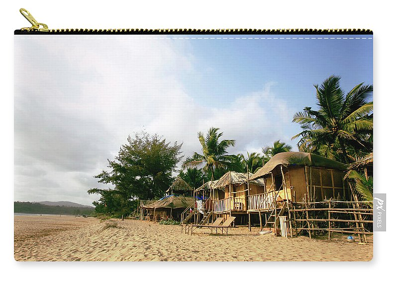Scenics Carry-all Pouch featuring the photograph India, Goa, Beach Huts On Agonda Beach by Sydney James