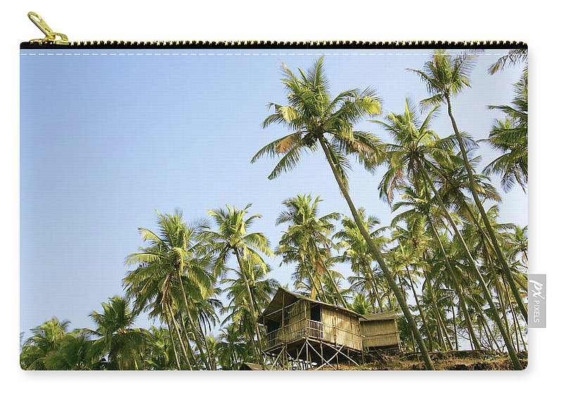 Scenics Carry-all Pouch featuring the photograph India, Goa, Beach Huts On Palolem by Sydney James