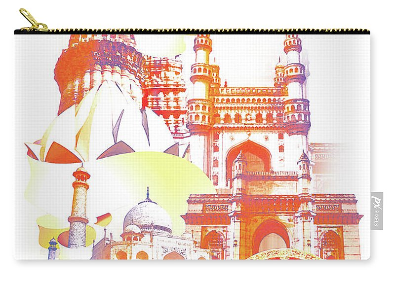 Architectural Feature Carry-all Pouch featuring the digital art Indian Monuments Collage by Anand Purohit
