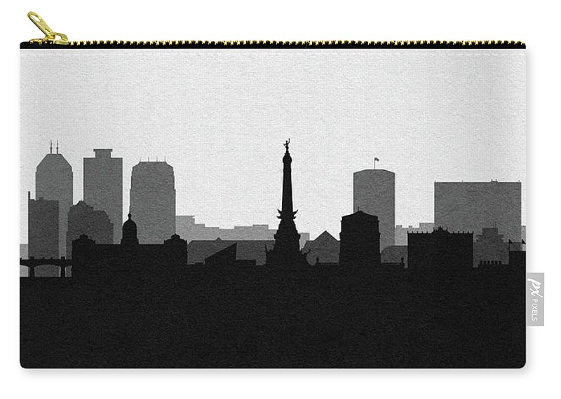 Indianapolis Carry-all Pouch featuring the drawing Indianapolis Cityscape Art V2 by Inspirowl Design