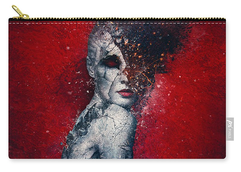 Red Carry-all Pouch featuring the digital art Indifference by Mario Sanchez Nevado
