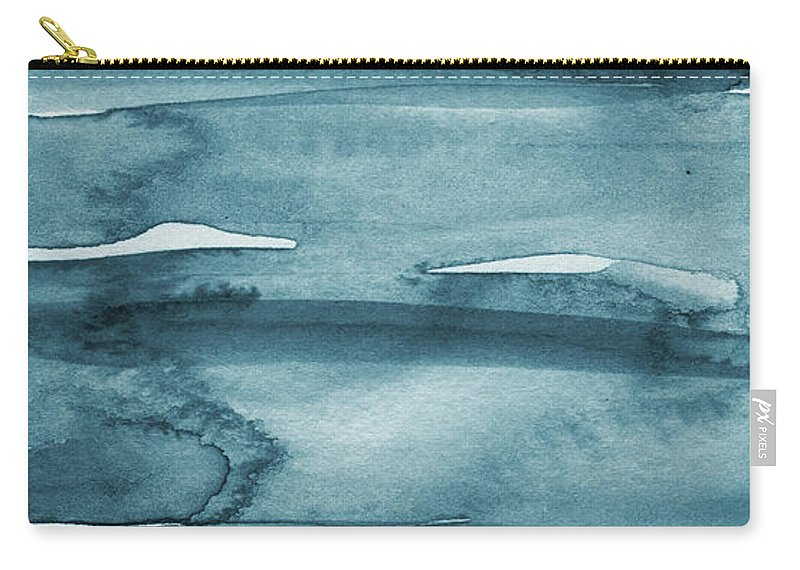 Coastal Carry-all Pouch featuring the painting Indigo Water- Abstract Painting by Linda Woods