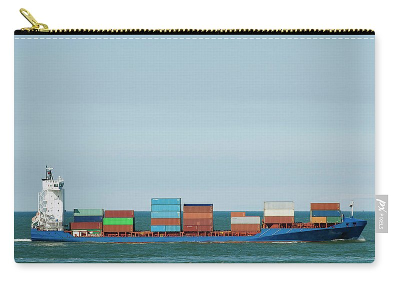 Freight Transportation Carry-all Pouch featuring the photograph Industrial Barge Carrying Containers by Mischa Keijser