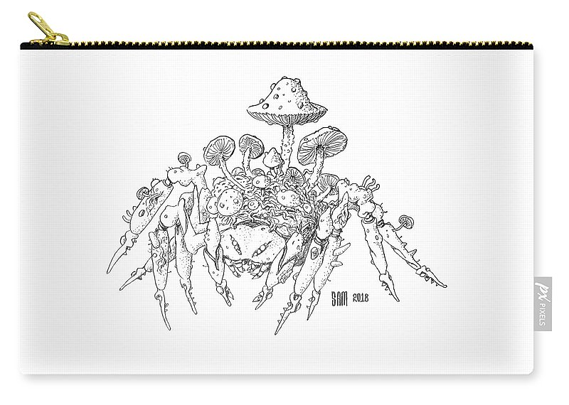 Spider Carry-all Pouch featuring the drawing Infested Spider by Sami Matilainen