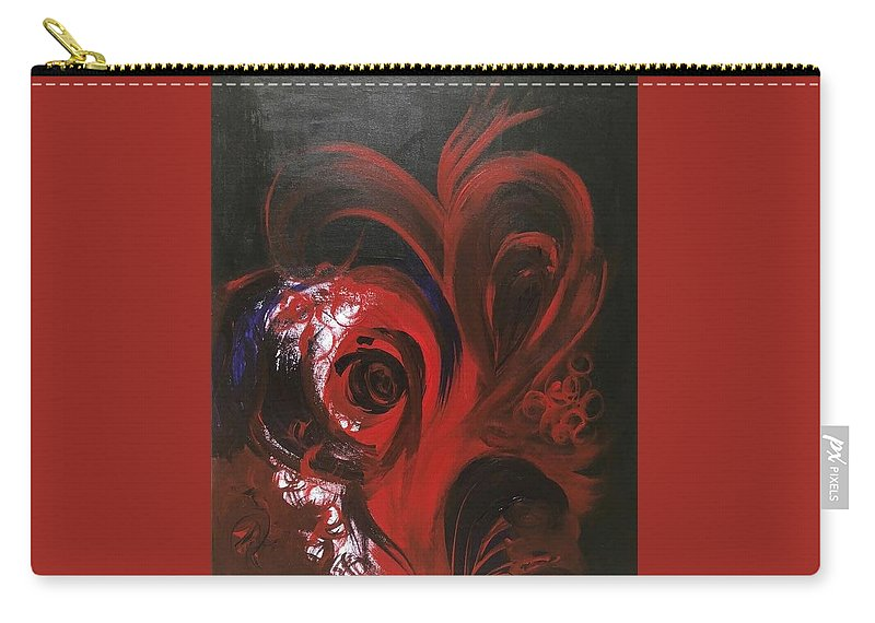 Red Carry-all Pouch featuring the painting Intense Red#1 by Syeda khizra Abedi