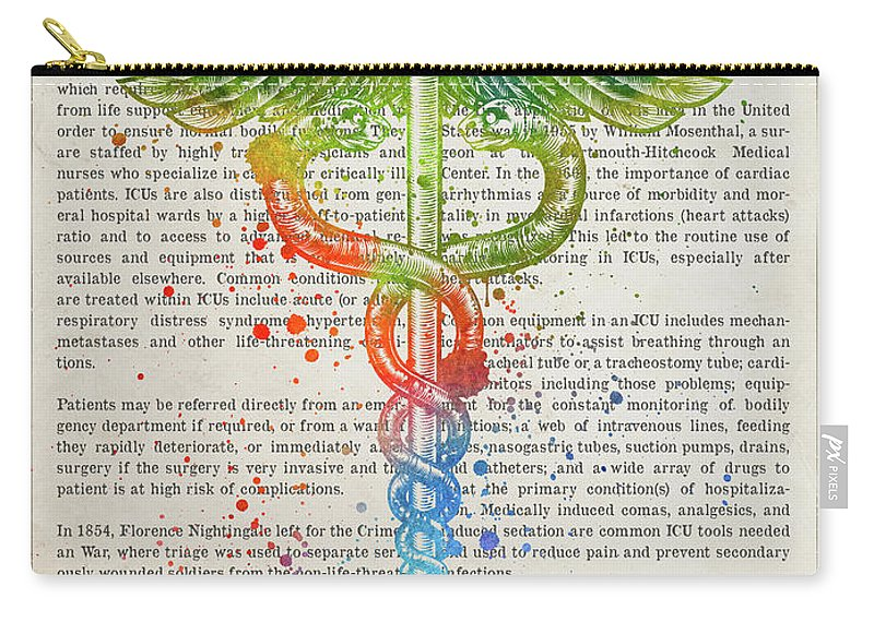 Icu Carry-all Pouch featuring the digital art Intensive Care Unit Gift Idea With Caduceus Illustration 03 by Aged Pixel