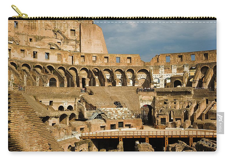 Arch Carry-all Pouch featuring the photograph Interior Of The Colosseum, Rome, Italy by Juan Silva