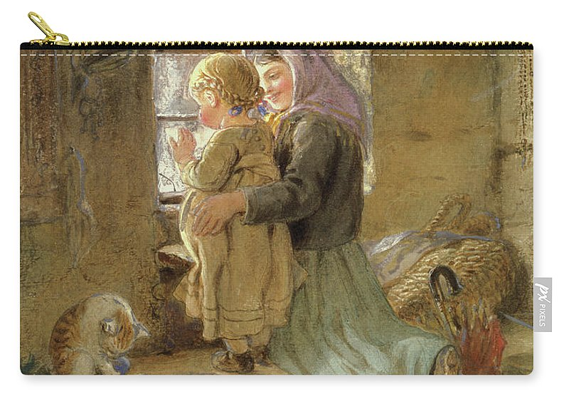 Mom Carry-all Pouch featuring the painting Interior Peasant Girl And Child by C Goebel