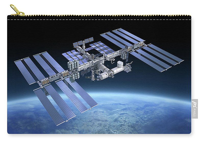 Solar Power Station Carry-all Pouch featuring the photograph International Space Station Iss by Scibak