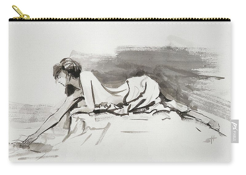 Woman Carry-all Pouch featuring the painting Introspection by Steve Henderson