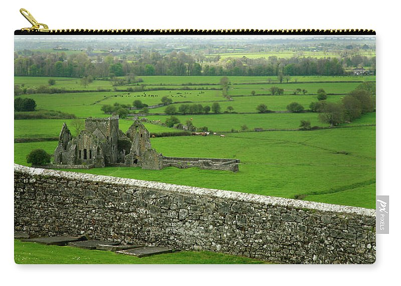 Scenics Carry-all Pouch featuring the photograph Ireland Country Scape With Castle Ruins by Njgphoto