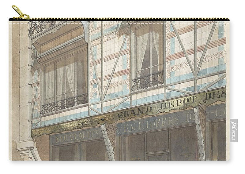 Eugène Viollet-le-duc Carry-all Pouch featuring the painting Iron Frame House With Glazed Earthenware by Eug ne Viollet le Duc