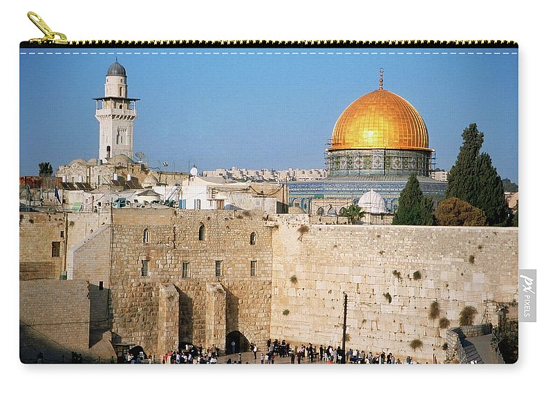 Dome Of The Rock Carry-all Pouch featuring the photograph Israel, Jerusalem, Western Wall And The by Medioimages/photodisc