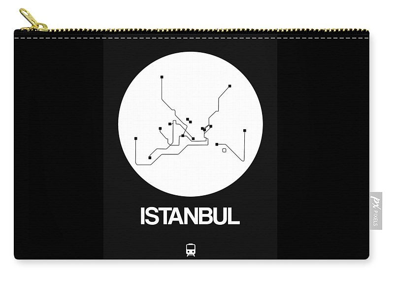 Istanbul Carry-all Pouch featuring the digital art Istanbul White Subway Map by Naxart Studio