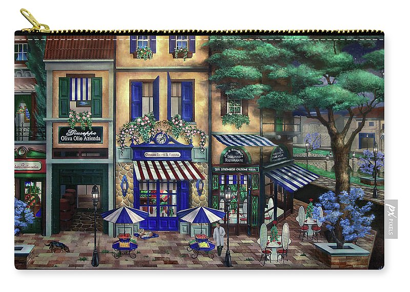 Italian Carry-all Pouch featuring the mixed media Italian Cafe by Curtiss Shaffer