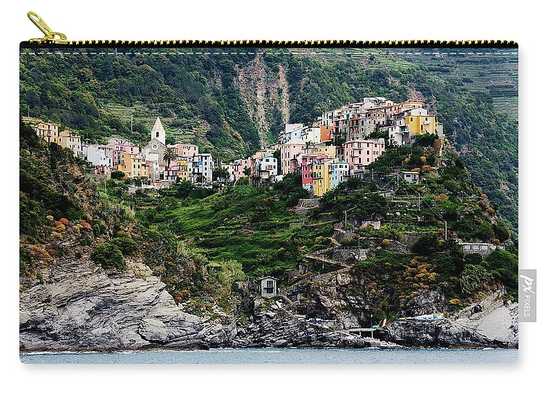 Town Carry-all Pouch featuring the photograph Italy, Liguria, Corniglia, View From by Jeremy Woodhouse
