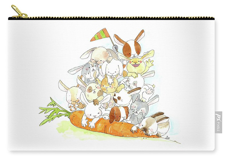 Bunny Carry-all Pouch featuring the drawing It's Mine by Vlin
