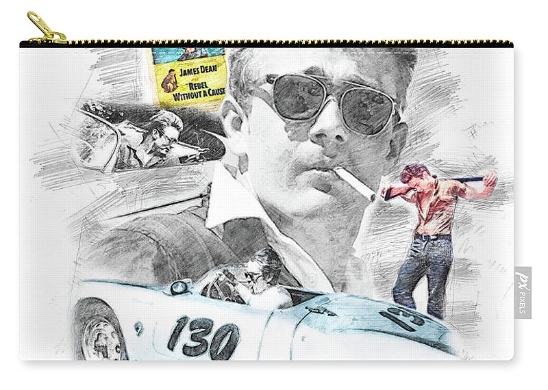 Movie Star Carry-all Pouch featuring the drawing James Dean by Theodor Decker