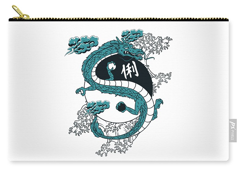 Asian Carry-all Pouch featuring the digital art Japanese Dragon Yinyang Water Waves by Passion Loft