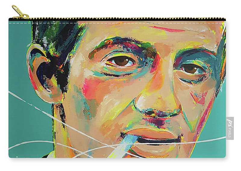 Jean-paul Belmondo Carry-all Pouch featuring the painting Jean-paul Belmondo by Marie-Armelle Borel