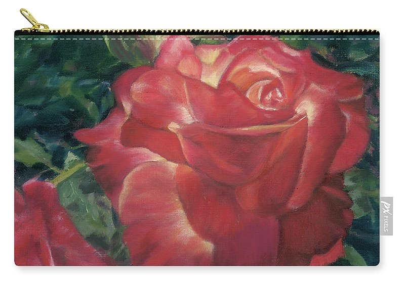Red Rose Carry-all Pouch featuring the painting Jenny Rebecca by Pamela Hastings