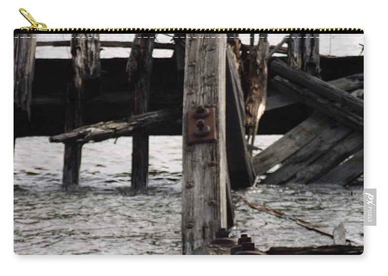 Sunken Boat Storage Area Carry-all Pouch featuring the photograph Jersey Broken Wharf II by Darren Dwayne Frazier