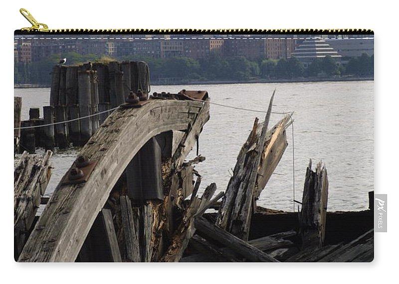 Broken Wharf Boat Docking Carry-all Pouch featuring the photograph Jersey Broken Wharf IIi by Darren Dwayne Frazier