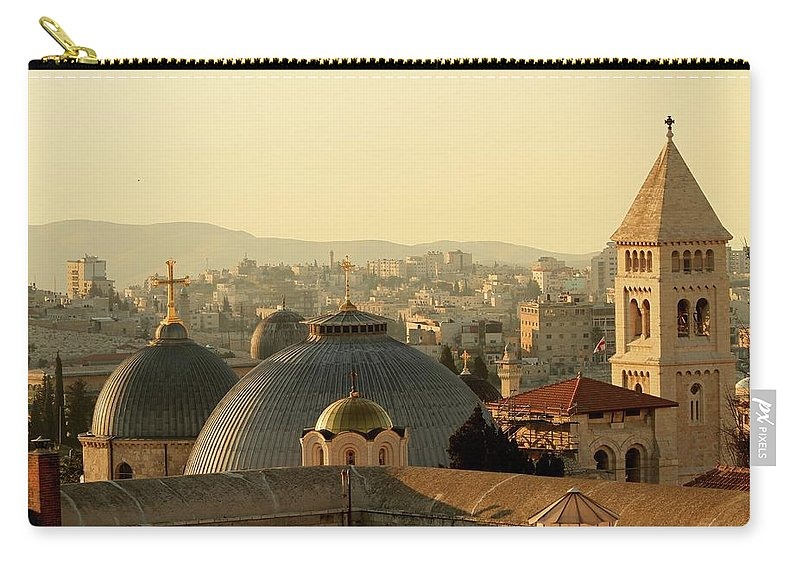 West Bank Carry-all Pouch featuring the photograph Jerusalem Churches On The Skyline by Picturejohn