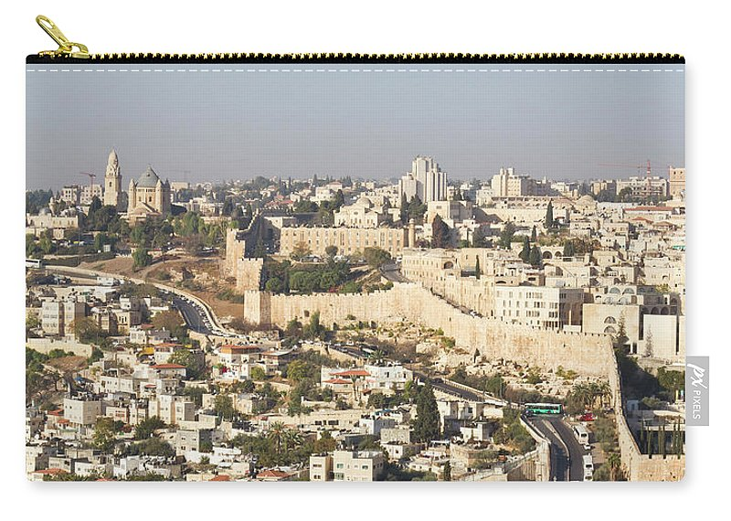 Built Structure Carry-all Pouch featuring the photograph Jerusalem City Wall From A Distance by Raquel Lonas