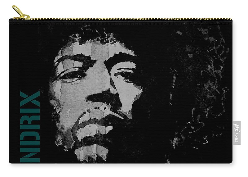 Jimi Hendrix Carry-all Pouch featuring the mixed media Jimi Hendrix - Retro Black by Paul Lovering