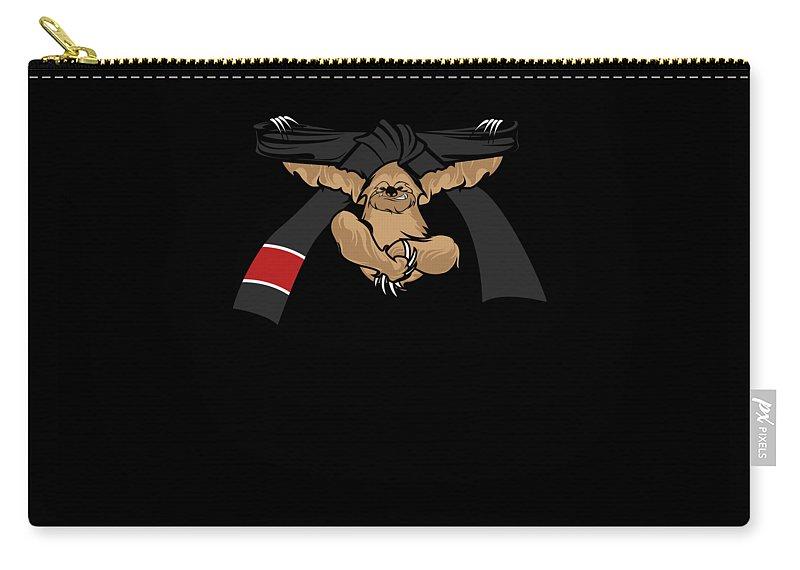 Bjj Carry-all Pouch featuring the digital art Jiu Jitsu Bjj Sloth Black Belt Light by J P