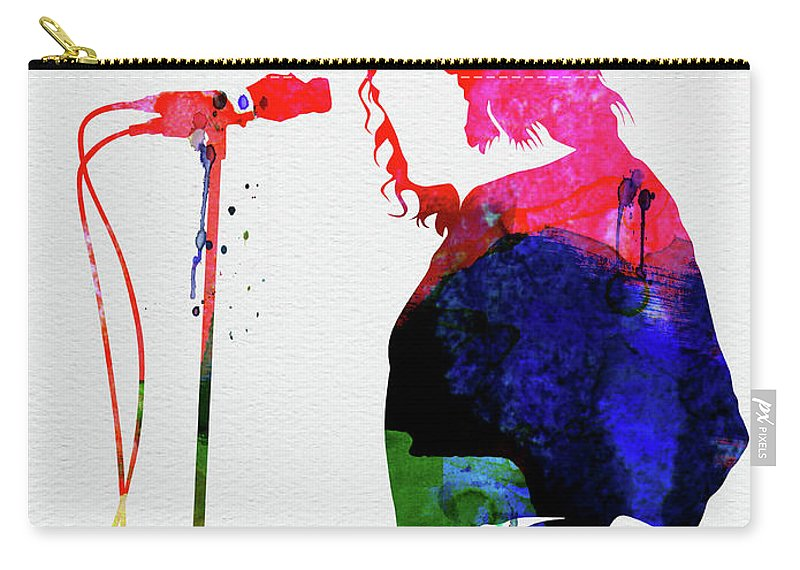 Joe Cocker Watercolor Carry-all Pouch featuring the mixed media Joe Cocker Watercolor by Naxart Studio