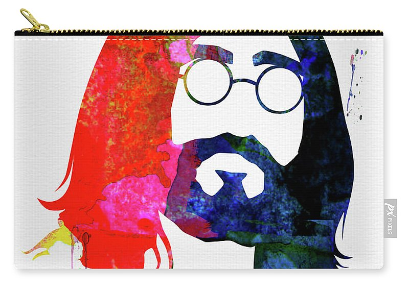 John Lennon Carry-all Pouch featuring the mixed media John Watercolor by Naxart Studio