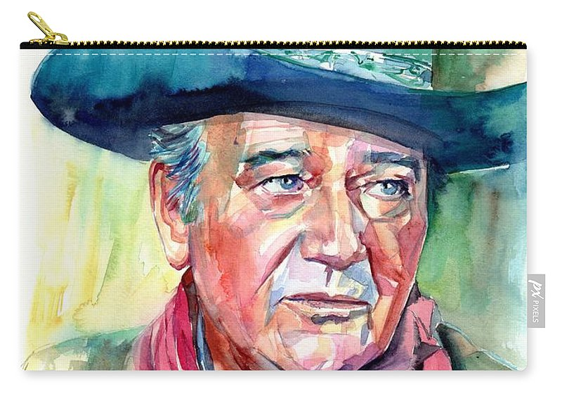 John Carry-all Pouch featuring the painting John Wayne Portrait by Suzann Sines