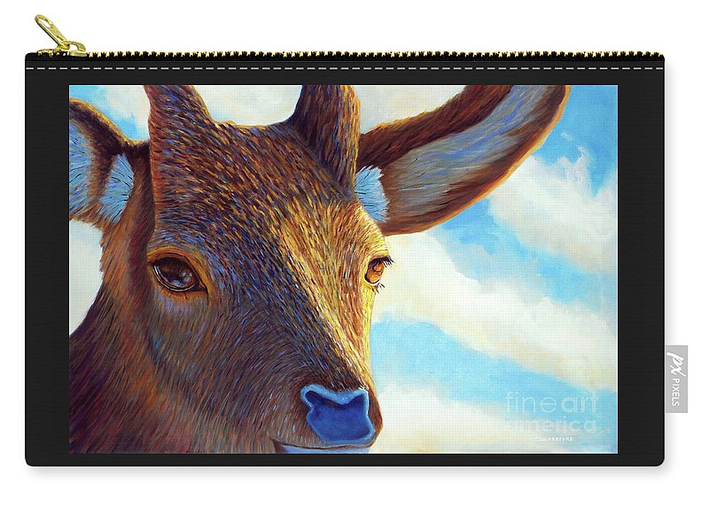 Deer Carry-all Pouch featuring the painting Johnny On The Spot by Brian Commerford